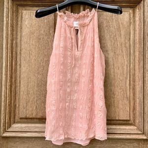 Anthropologie pink ruffled camisole